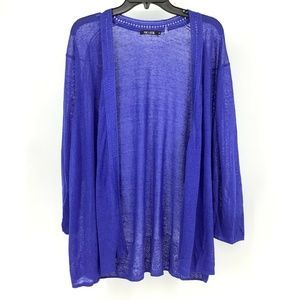 Nic+Zoe Blue 3X Plus Royal Blue Open Cardigan